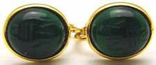 Vintage Clip On / Screw Back Earrings Green Stone Scarab Egyptian Neat Gold Tone