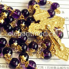 GOLD NATURAL 8MM AMETHYST BEADS Vatican ROSARY CROSS CATHOLIC NECKLACE BOX GIFT