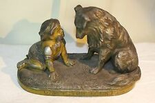 "Victorian Spelter Statue of Young Girl and Collie ""Can't You Talk"" Vintage Metal"