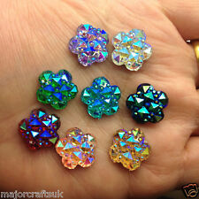 36pcs Mixed 14mm Flat Back Flower Star Sew-On Resin Rhinestones 2 Hole Buttons