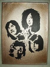 Canvas Painting Led Zeppelin Band Members Gold B&W Art 16x12 inch Acrylic