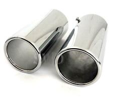 x2 Car Exhaust Tip Ends Chrome Straight Tail Pipe Cover 65mm Sport Trim Easy Fit