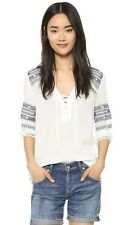 YOUNG FABULOUS & BROKE Porto Embroidered Lace Up Blouse Top Size S NWT $158