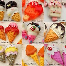 18 Kawaii Flat Back Resin Ice Cream/Popsicle Cabochon Decoden Charm