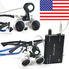 Dental Loupes 3.5X 420mm Surgical Binocular Optical Glass + LED Head Light Lamp