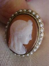 ANTIQUE Carved Hardstone Agate Carnelian Cameo Ring Seed Pearls 14K Y Gold HERA