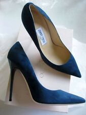 Jimmy Choo AUTH Dark Prussia SEXY 120MM Anouk Suede Pointed Toe Pump 39.5 NIB