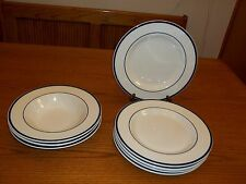Tabletops Unlimited Bistro Collection Cobalt Blue Rings ~ 8 pc set Plates & Bowl