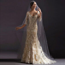 White ivory Wedding Dress Lace Neck Bride Gown Custom Size 6/8/10/12/14/16/18+++