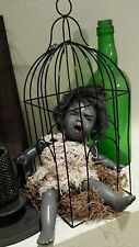 Hanging Haunted house prop doll halloween bird cage horror zombie table decor