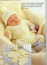 BABY KNITTING  Pattern cardigan pants hat socks mitt   prem/ 6month  10/ 18 in