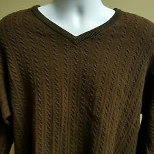 Men Pendleton Woolen Mills Striped Brown Medium Winter Sweater 100% Cotton
