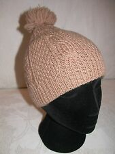 VINTAGE HAND KNIT/MADE WOOL BLEND CABLED HAT WITH POM POM