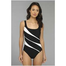 Miraclesuit Ticking Time Helix  Swimsuit Women's  sz 16  Black White  NN91