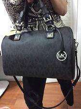 NWT $348 MICHAEL KORS Large Grayson Black PVC Signature  Satchel Boston Speedy