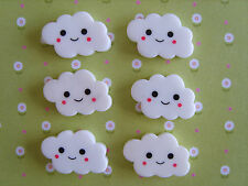 6 x Smiley Clouds Flatback Resin ,Embellishment,Crafts,Cabochon *UK*