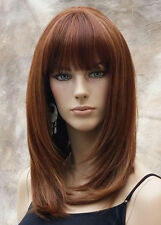 Delightful Straight Wig Heat Safe w. Bangs Auburn Red Blonde mix LP 103