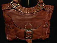 LOVELY KOOBA MIA SADDLE BROWN STUDDED LEATHER HANDBAG