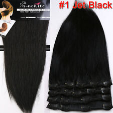 "10""-24"" Premium Clip in Remy Human Hair Extensions Full Head 7/8Pieces US SU927"