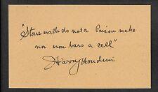 Harry Houdini Autograph Reprint On Genuine Original Period 1910s 3x5 Card