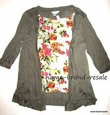 CJ BANKS NWT 2fer Olive Cardigan Floral Shirt Top Set Womens PLUS Size 2X NEW