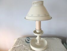 Vintage Cream & Wedgwood Blue Floral Tole Table Bedroom Reading Lamp