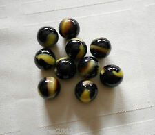 10 Glass Marbles BUMBLE BEE- HORNET Yellow Brown black game lot Pelitier - Akro