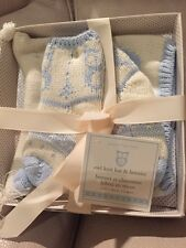 Pottery Barn Kids Owl Knit Hat &Booties Socks Baby Nursery Gift Set Blue 3-6 mos