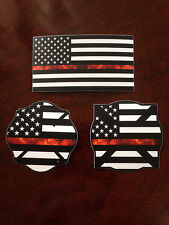Thin Red Line Flame Combo Pack - Firefighter Car Decal and Helmet Stickers
