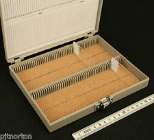 Heavy Duty Cork Lined Microscope slide storage case box 100 capacity archiving
