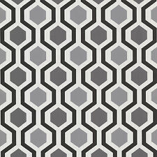 WALLPAPER BY THE YARD 347-20133 Modern Geometric Black and White Trellis Wallpap