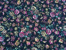 "Black Multi Floral Medallion Brocade Drapery Fabric 54"" Wide Sold By The Yard"