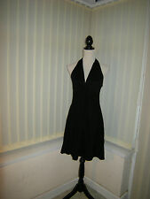 12 COOL BLACK VISCOSE MINI DRESS HALTER NECK STYLE STRETCH PARTY SUMMER HOLIDAY