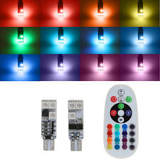1 Pair DC12V T10 5050 6 SMD RGB LED Car Dome Reading Light+Remote Control