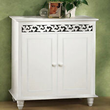White Wooden Cupboard Cabinet Sideboard Freestanding Hallway 2 Doors Furniture