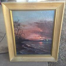 Old Original Signed Antique Oil Painting Framed Ocean Sunset Nautical Sailboats