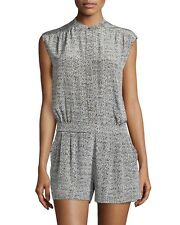 Vince Womens Gray Polka Static Print Silk Sleeveless Short Jumpsuit Romper 8 M