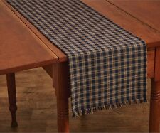 TABLE RUNNER 13X54 STURBRIDGE NAVY PLAID COTTON PRIMITIVE COUNTRY