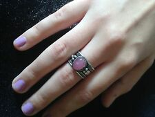 Ring Big Silver Pink Jade Hippie Boho  Gypsy Cuff Tribal Belly Dance Bohemian