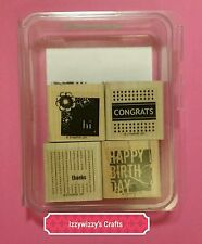 Stampin Up FOUR SQUARE birthday thanks hi congrats fits square punch (1601)