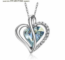 New Swarovski Element Crystal Sparkly Silver Blue Heart Necklace Pendant Jewelry