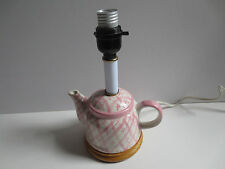 Pink and White Tea Pot Lamp With Wooden Base- No Shade