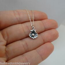 Clam Shell Necklace - 925 Sterling Silver - Shell Charm Pearl Nautical Mermaid