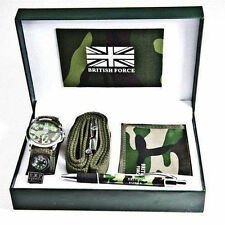British Army Gift Set with belt,wallet,pen & Men's/Boy's Wrist Watch