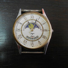 Belarus Soviet  RARE Vintage LUCH Moon phase watch.  Quartz. White dial.