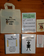 WHEN I FEEL ANGRY PACK with FREE storage bag - autism adhd aspergers S.Needs SPD
