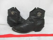 Laredo Black Leather Longhorn Skull Zip Cowboy Ankle Boots Size 8.5 M