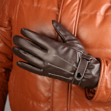 Men Brown Winter Warm Leather Motorcycle Full Finger Gloves Support Touch Screen