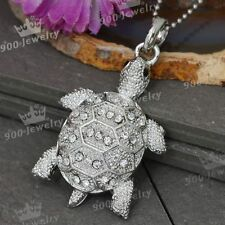 1x Crystal Rhinestone Tortoise Turtle Animal Pendant Charms For Necklace Chain