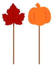 Leaves and Pumpkins Foil Party Food Picks THANKSGIVING 12 Pieces   BK